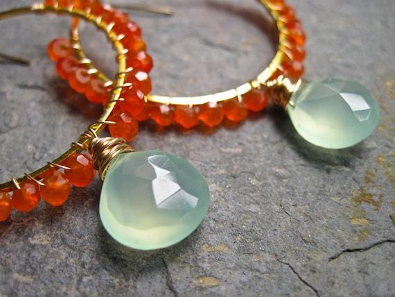 Aqua Chalcedony and Carnelian Wire Wrapped Handmade Gold Hoop Earrings