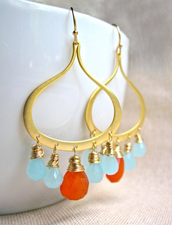 Gold Chandelier Earrings with Wire Wrapped Carnelian and Aqua Chalcedony, Aqua and Orange Dangle Earrings, Beach Wedding Jewelry