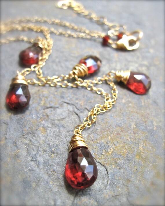 Garnet Gemstone Necklace, January Birthstone Necklace, Garnet Necklace in 14K Gold Fill, Red Gemstone Necklace