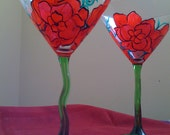 Red Pointsetta with Green Stem Hand Painted Martini Glasses
