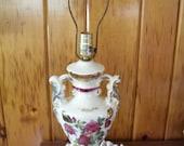 Reserved for ALI -Porcelain Lamp Signed Handled Vase w/Gold Electric Light Victorian Lighting Home Decor