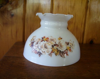 Antique Milk Glass Shade w/Flowers for Student, Parlor, Hanging Lamps Oil Kerosene or Electric Light