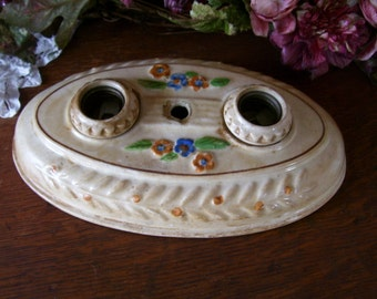 Porcelain Fixture Wall or Ceiling Electrical Cover 1800's Victorian Decor Lighting