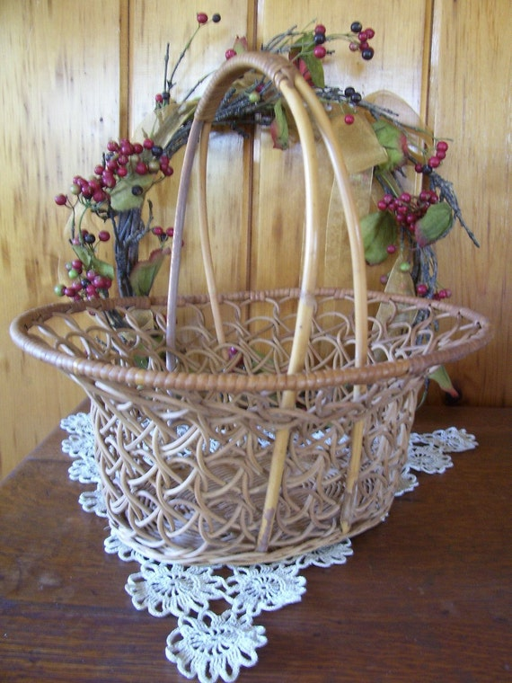 Wicker Basket Basket Large Ornate Vintage Primitive Home Decor