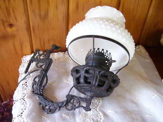 Antique Electric Wall Lamp w/Victorian Cast Iron Bracket Milk Glass Hobnail Shade