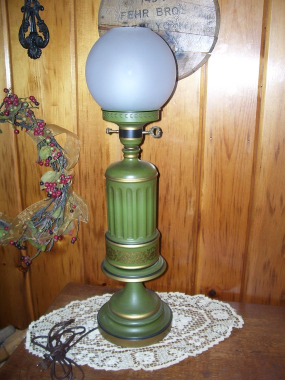 Antique Art Deco Tin Tole Ware Large Electric Table Lamp w/Satin Glass Globe Shade Rare Lighting