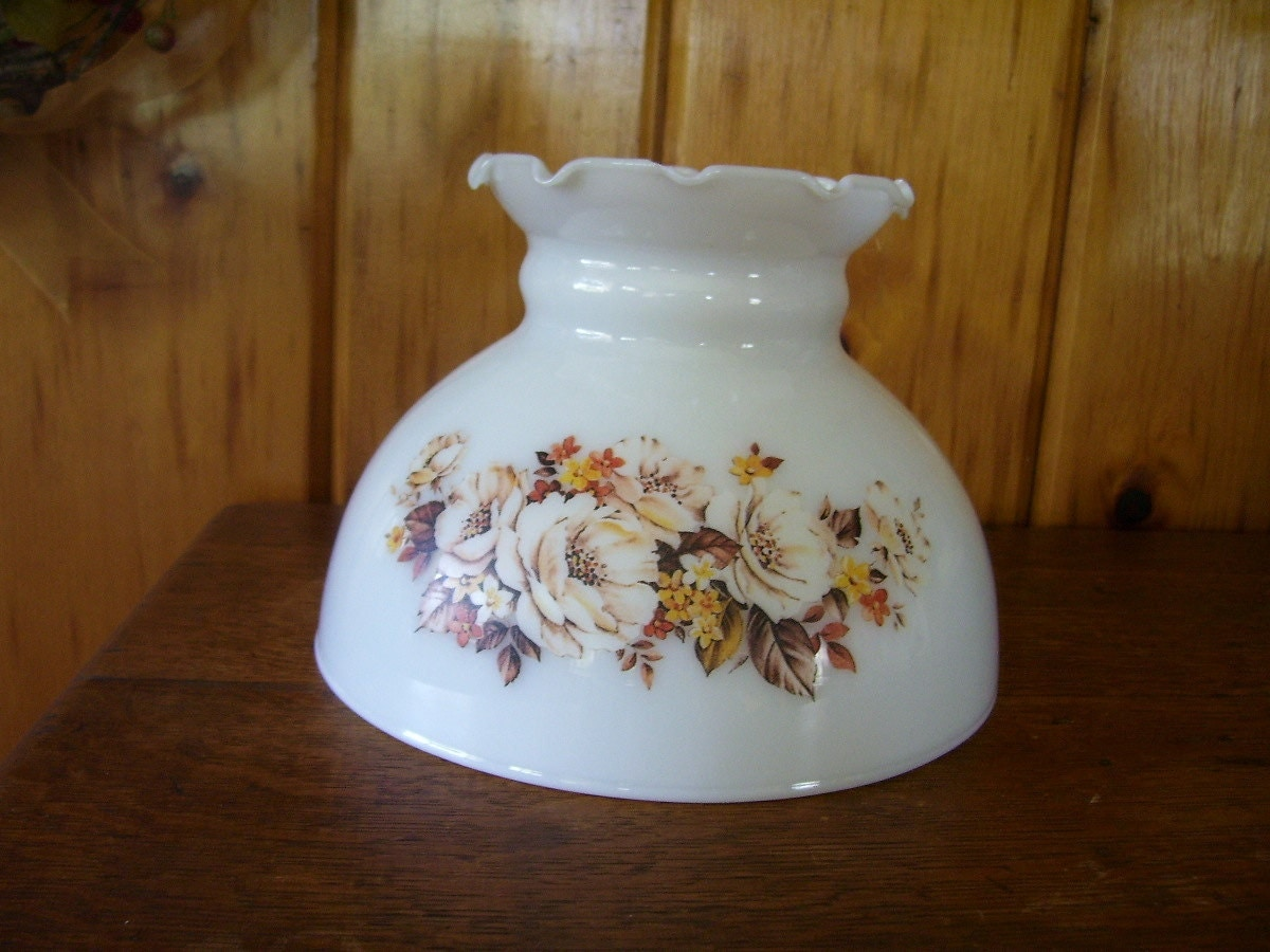 Antique Milk Glass Lamp Shade With Brown By Thecountrylampshop