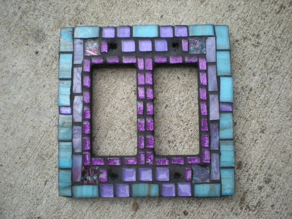 Mosaic Switch Plate -Teal/Aqua and Purple Stained Glass Double Light Switch Cover