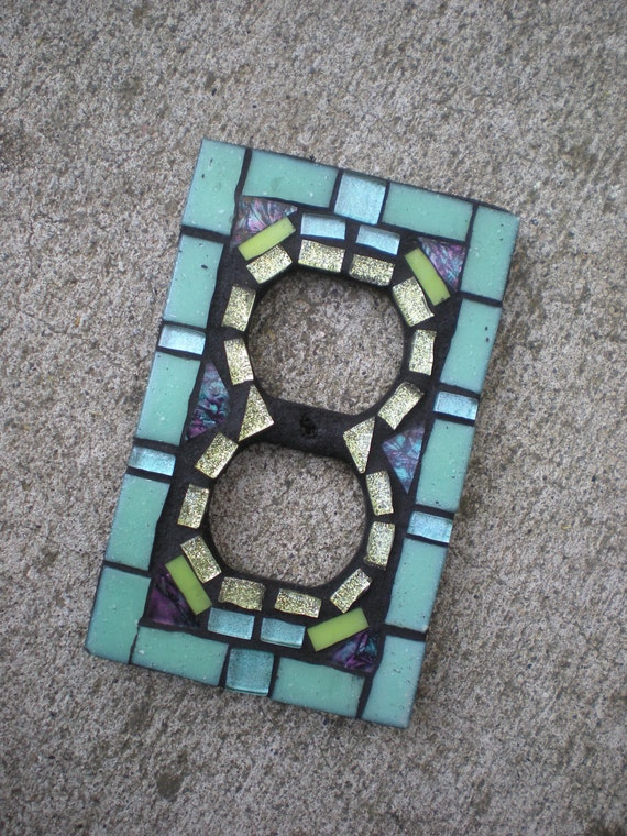 Mosaic Outlet Cover in Aqua and Lime Glass- Stained Glass