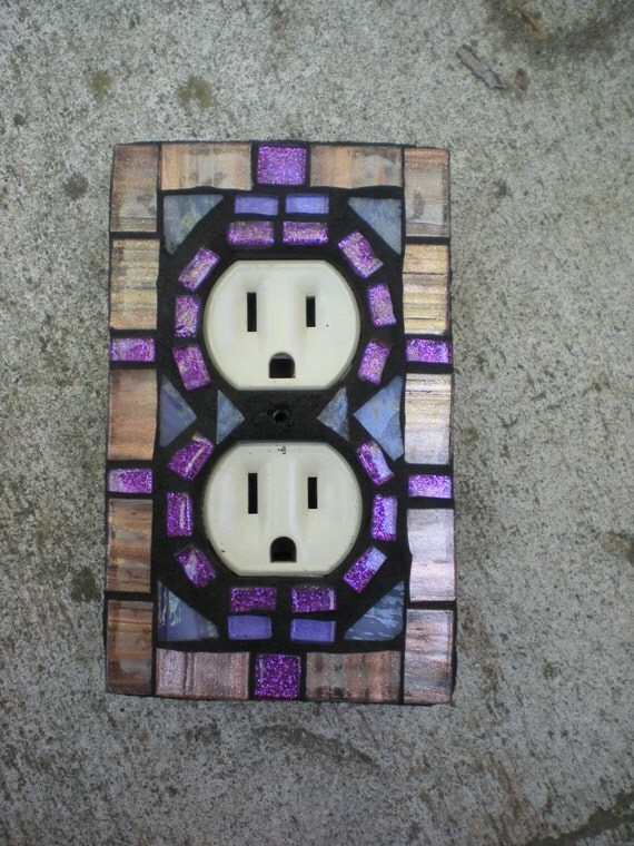 Mosaic Outlet Cover in Copper and Purple Glass- Stained Glass