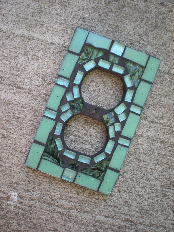 Reserved for Tami Mosaic Outlet Cover in Aqua and Green Glass