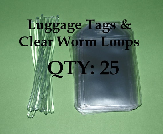 Clear Vinyl Luggage Tags and Worm Loops - 12 gauge - Qty 25