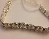 Rhinestone Bridal headband, The MARISSA Rinestone Headband with Organza Ribbon.