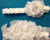 Bridal Garter Belt, The MAGGIE White/Silver Version is a Shabby Chic Bridal Garter Belt