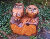 Wood Carving Owls with Custom Name or Address
