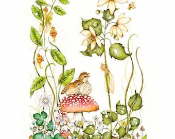 Fairy Art - Bird Art- Fantasy Print