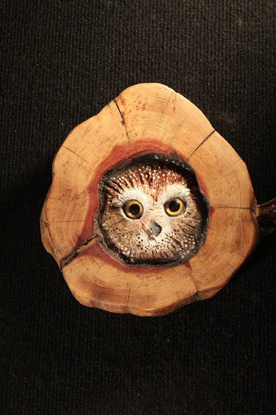 Owl Wood Carving Sculpture Wall Art