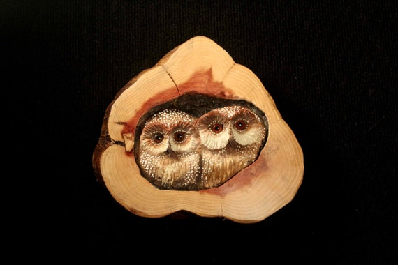 Wood Carving Owls in Red Cedar