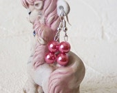Pearl Earrings Dark Rose Pink Fashion Party Jewelry