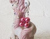 Party-Modeschmuck Perlen Ohrringe Rose dunkelrosa