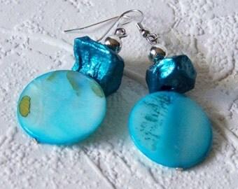 1/2 Price SALE  Earrings Jewel Tone Aqua Blue Potato Beads