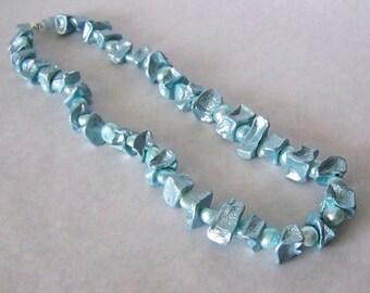 1/2 Price SALE  Necklace Freshwater Pearls Organic lightweight Potato Beads Baby Blue Ocean Metalic