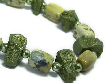 1/2 Price SALE  Potato Bead Necklace Yellow Turquoise Peridot Green Natural Stone Jewelry Organic