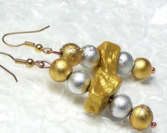 1/2 Price SALE  Potato Bead EarringsYellow Silver Gold Potato Dangle Festive Fashion