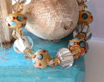 1/2 Price SALE  LampWork Beaded Bracelet Yellow & Blue Turquoise Stretch
