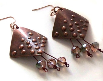 1/2 Price SALE  Geometric Copper and Crystal Earrings