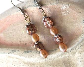 1/2 Price SALE  Crystal Freshwater Pearl Earrings Peach