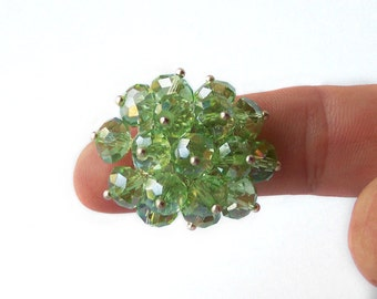 1/2 Price SALE  Cluster Ring of Peridot Green Crystals Evening Wear Fashion Jewelry