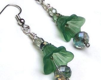 1/2 Price SALE  Green Tulip Earrings Crystal