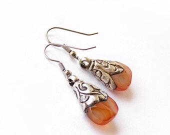 SALE  Sterling Silver Earrings Warm Orange Carnelian Gemstone