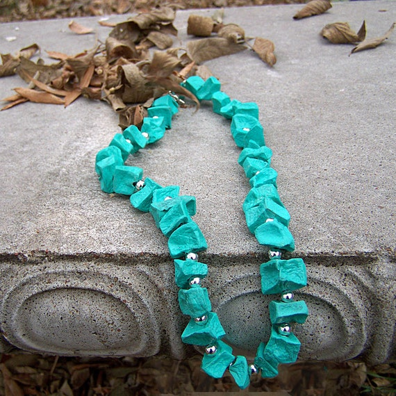 1/2 Price SALE  Turquoise Necklace made from Potatoes Fashion Jewelry
