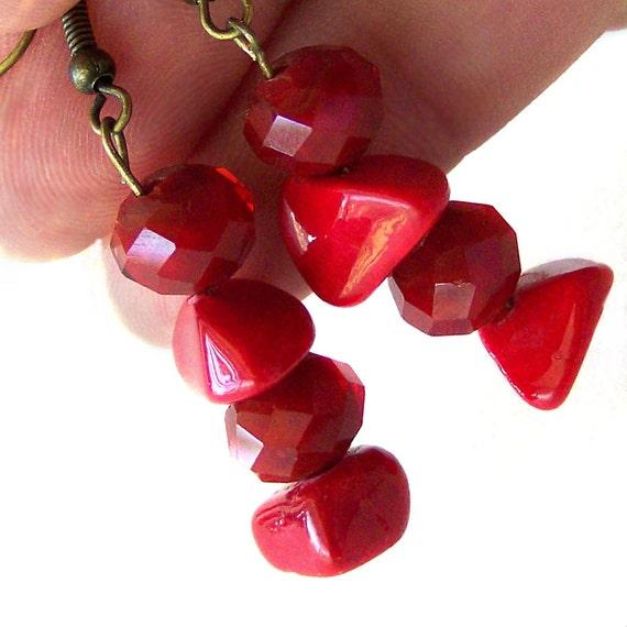 Ruby Red Earrings Dangle Crystal