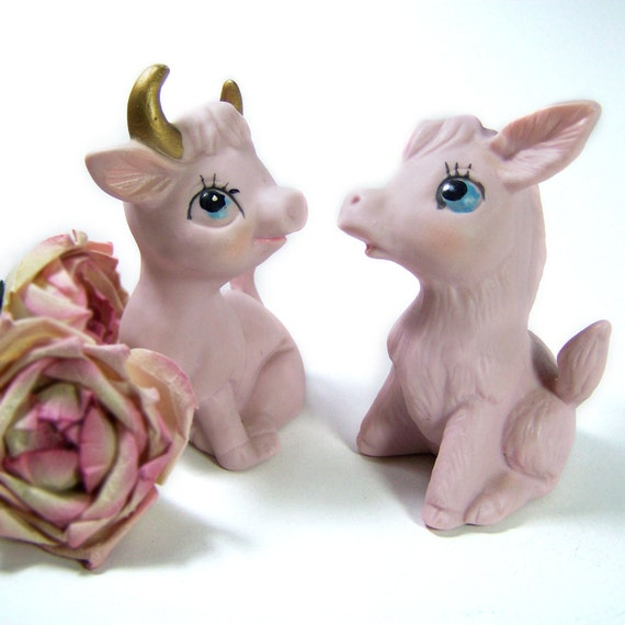Vintage Figurines Donkey & Bull Rose Pink Ceramic Home Decor
