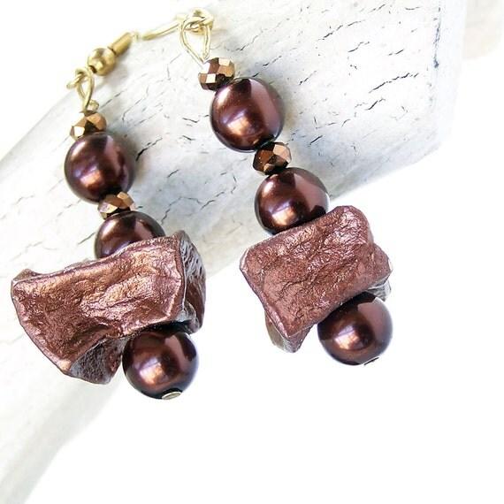 1/2 Price SALE  Earrings Potato Bead and Brown Pearl Dangle