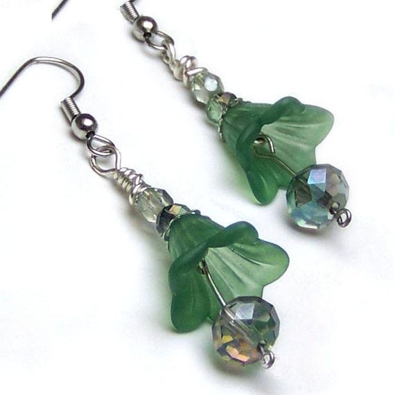 Green Tulip Earrings Crystal