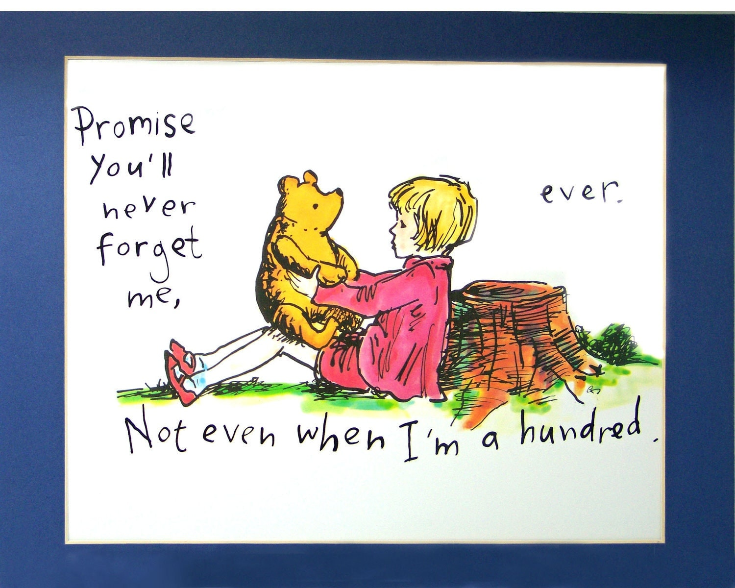 Vintage Friendship Print Winnie The Pooh And Christopher Robin