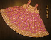 Girls Knot Dress Ruffled Pink Sunshine by Divas And Dragonflys Size 5, 6,
