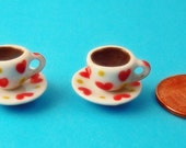 Dollhouse Tea for Two, 2 Sets of Red Heart Pattern Teacups with Tea 12th Scale