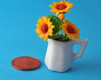 A Ceramic Jar of Dollhouse Sunflowers 6th Scale
