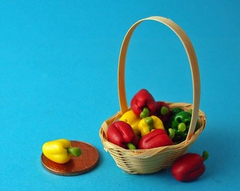 Dollhouse Colorful Bell Peppers Basket 1/12 Scale
