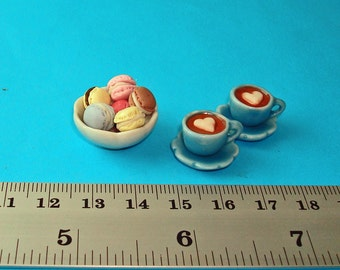 Coffee for Two, 2 Cups of Coffee and A Bowl of Assorted Macaroon for Dollhouse 1/12 Scale
