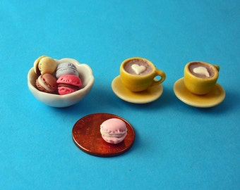 Dollhouse Coffee for Two, 2 Set of Yellow Teacups and Saucers Filled with Coffee, 1 Bowl of Assorted Macaroons12th Scale