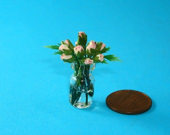 A Vase of Dollhouse Light Pink  Roses 1/12 Scale