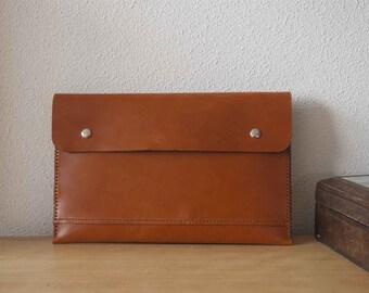13 inch MacBook Air sleeve, 13 inch MacBook Air case, MacBook Air 13 sleeve with pocket - brown leather
