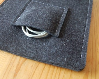 IPad retina case, IPad 3 case, IPad case, IPad retina sleeve, IPad 3 cover, IPad cover - wool felt - with pocket - anthracite color