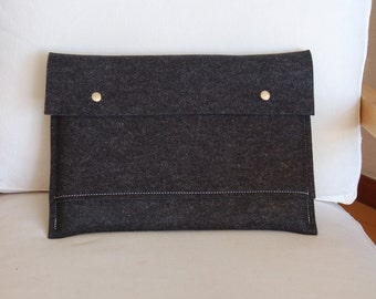 13 inch MacBook Pro sleeve, MacBook Pro 13 case, MacBook cover, 13 inch MacBook pro case, MacBook 13 sleeve - Athracite felt
